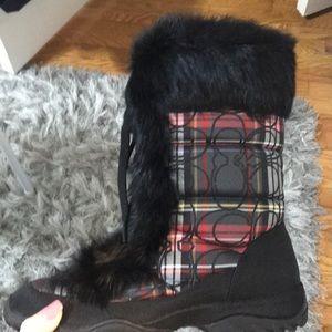 Coach black and red Jennie snow boots, 8.5 NIB